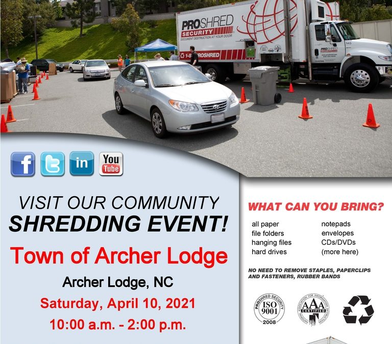 Town of Archer Lodge Shredding Event & Food Truck